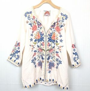 Johnny Was   Embroidered Tiwa Peasant Blouse Small